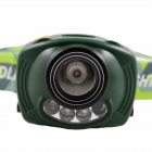 KINFIRE K10 Cree XP-E R3 + 2-LED White / Red 2-Mode Headlamp - Dark Green (3 x AAA)