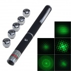 5mW 532nm Aluminum Alloy 5-IN-1 Green Laser Pointer w/ Clip - Black (2 x AAA)