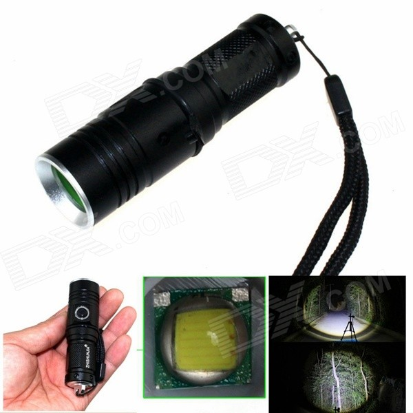 ZHISHUNJIA 1-LED 900lm 3-Mode White Light Flashlight w/ Strap - Black (1 x 16340)