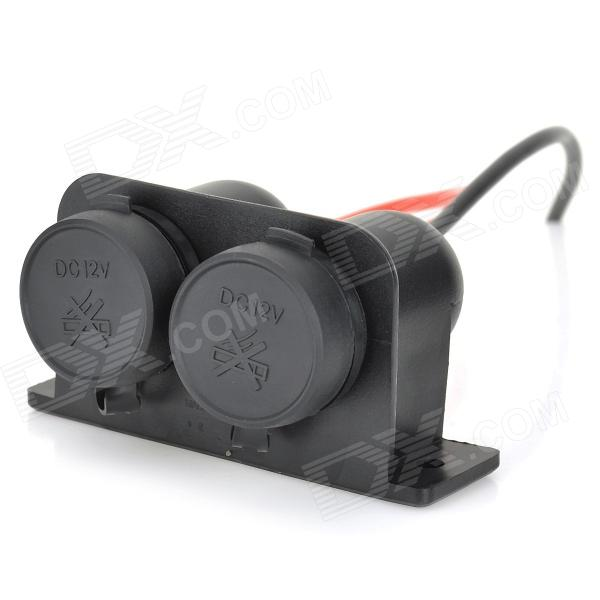 DIY 12V Motorcycle Dual Port Cigarette Lighter - Black