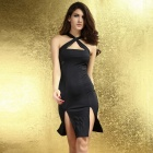 LC6157 Fashionable Sexy Slim Polyester Dress - Black