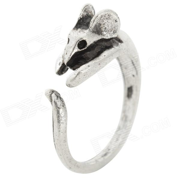 Retro Mouse Style Acrylic Open Ring for Women - Silver