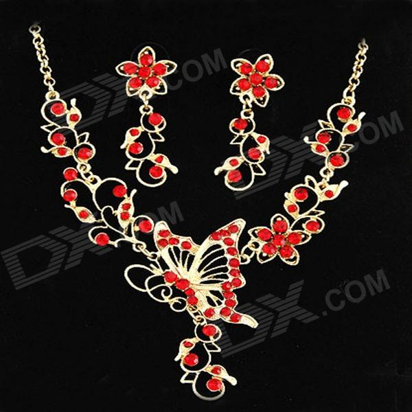 FenLu Women's Butterfly & Flower Shaped Rhinestone Inlaid ZInc Alloy Necklace + Earrings Set - Red