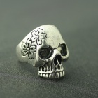 EQute Cool Skull Head Style Finger Ring for Women - Antique Silver (Size 9)