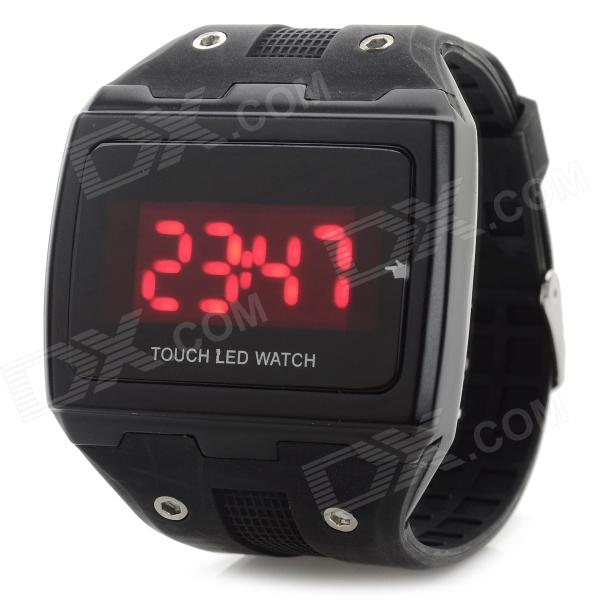 Stylish Touch Screen Digital LED Sports Wrist Watch - Black (1 x CR1220) popular black skull sports watch silicone bands touch screen led watch women mens free shipping gitt for lovers couple