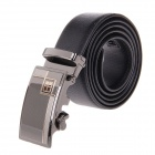 Men's Split Leather + Zinc Aloy Waist Belt w/ Automatic Buckle - Black