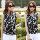 Sleeveless Vest Self-Cultivation Bottoming Shirt - Black + White (L)