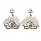 Retro Peacock Style Shining Rhinestone Inlaid Earrings for Women - Bronze + Silver (Pair)