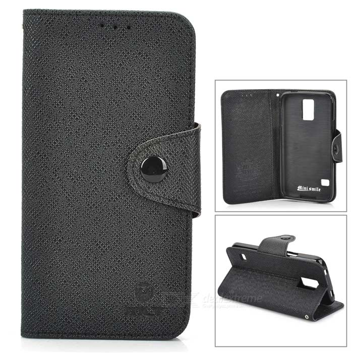 Protective Flip Open PU + TPU Case w/ Stand + Strap for Samsung Galaxy S5 - Black stylish protective flip open pu tpu case w stand for lg g3 black