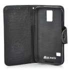 Protective Flip Open PU + TPU Case w/ Stand + Strap for Samsung Galaxy S5 - Black
