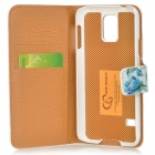 Protective Flip Open Flower Style PU Leather + PC Case w/ Stand + Card Slot for Samsung Galaxy S5