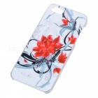 Kinston Flower Pattern Plastic Case for IPHONE 5 / 5S - Red + White