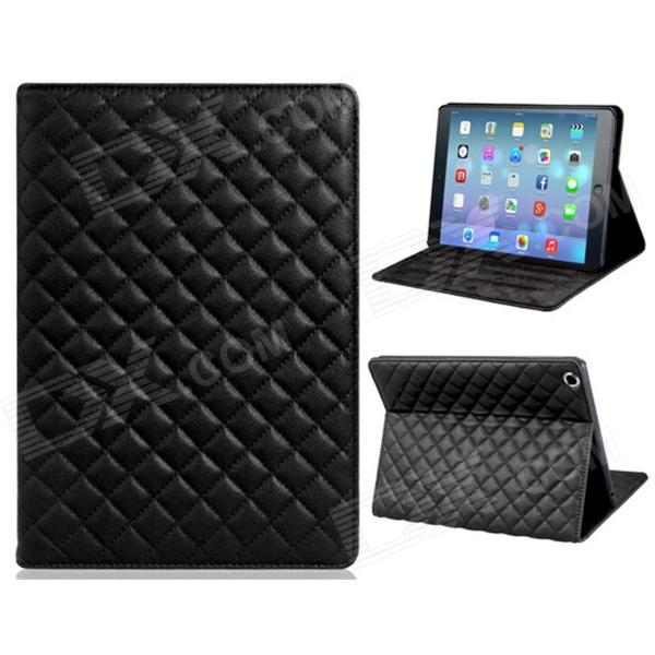 Soft Grid Pattern Protective PU Leather + TPU Case Cover Stand for IPAD AIR - Black soft neoprene protective pouch case for ipad 9 7 tablets black