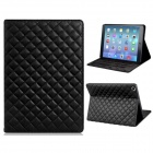 Soft Grid Pattern Protective PU Leather + TPU Case Cover Stand for IPAD AIR - Black