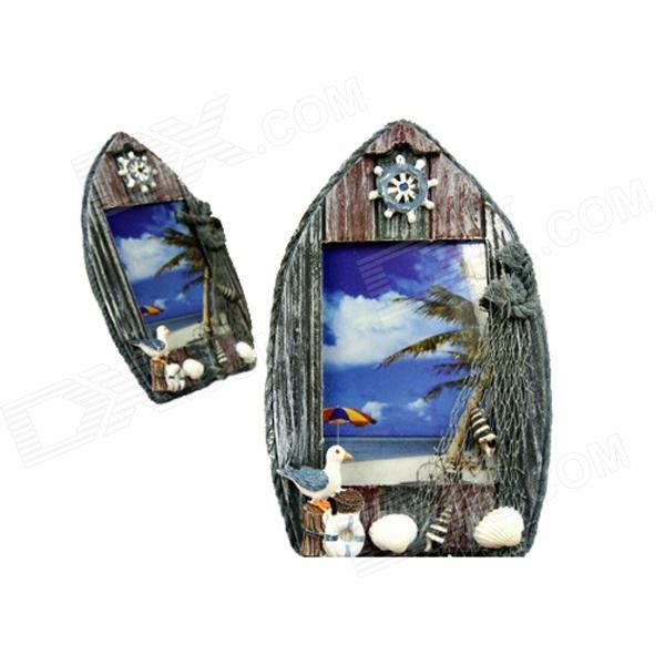 Mediterranean Style Ship Shaped Photo Frame for 5''~6'' Photo - Blue + Grey + Multi-Colored