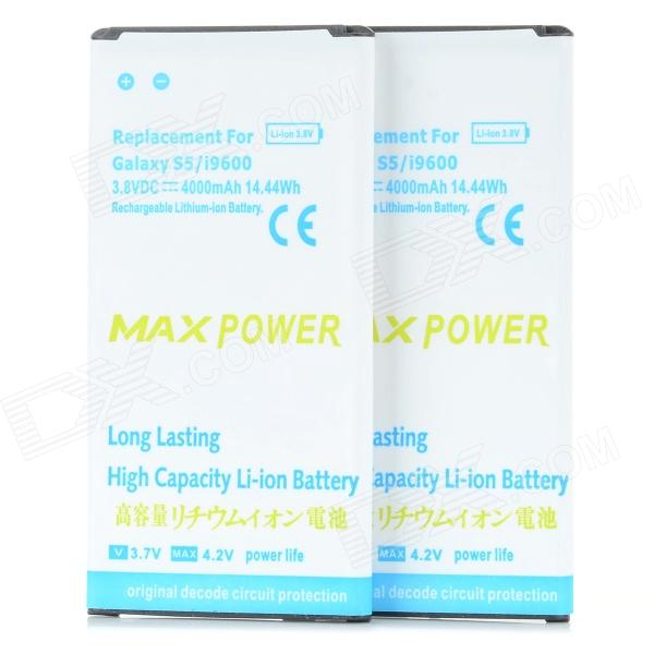MAXPOWER Replacement 3.8V / 3600mAh Li-ion Battery for Samsung Galaxy S5 - White + Blue (2 PCS)