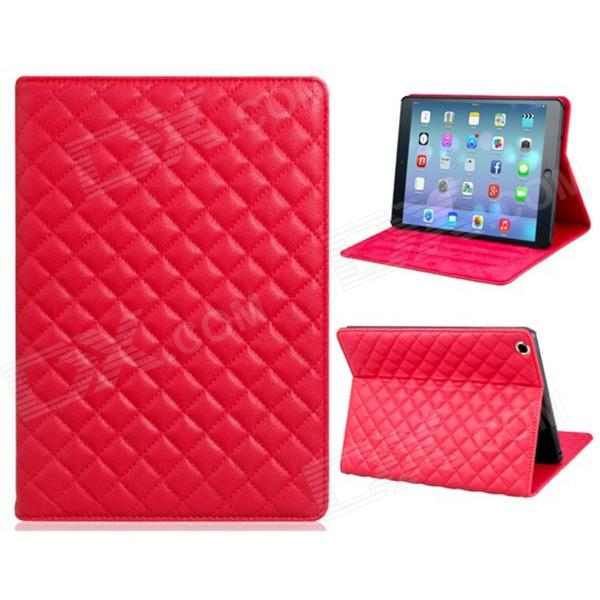 Soft Grid Pattern Protective PU Leather + TPU Case Cover Stand for IPAD AIR - Red lofter happy zoo pattern protective pu pc case w stand for ipad air white brown multicolor
