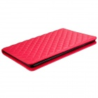 Soft Grid Pattern Protective PU Leather + TPU Case Cover Stand for IPAD AIR - Red