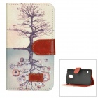 Protective Flip Open Tree Style PU Leather + Plastic Case w/ Stand + Card Slot for Samsung Galaxy S5