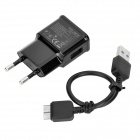 5V 2A EU Plug Power Adapter w / Datenkabel für Samsung Note 3 / N9000 / Galaxy S5 - Schwarz (100 ~ 240V)