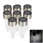 CIS-57338 0.06W 8lm 2-LED White Waterproof Solar Lawn Lamps - Silvery Grey + Black (8 PCS / 1.2V)