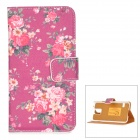 Protective Flip Open Flower Pattern PU Leather + PC Case w/ Stand + Card Slot for Samsung Galaxy S5