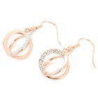 Stylish Shiny Rhinestone Studded Cross Ring Style Earring - Rose Gold (2 PCS)