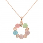 Sweet Colorful Cat's Eye Pendant Necklace - Golden + Multicolored