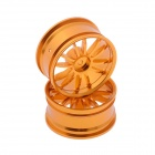HJ 50020 1:10 RC Car 12 Spoke Aluminum Drift Wheel Rim - Gold (2 PCS)