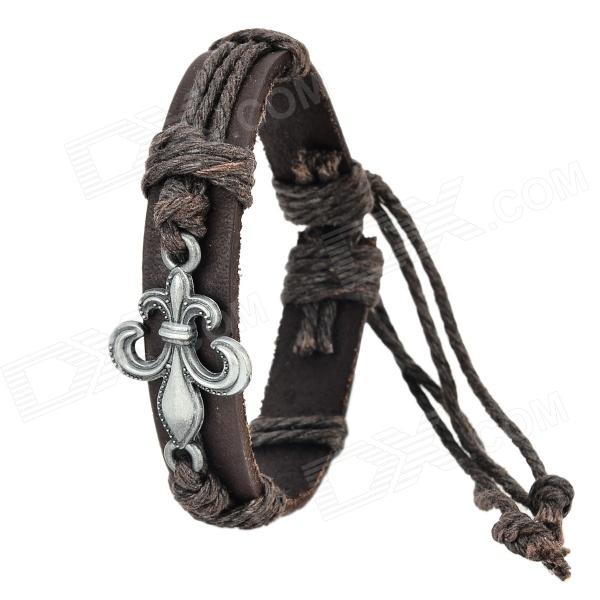 ZEA-5-12-2S Alloy + Cow Leather + Wax Cord Braided Bracelet - Dark Brown brown braid tree bracelet