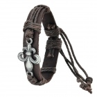Alloy + Cow Leather + Wax Cord Braided Bracelet - Dark Brown + Silver