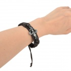 Alloy + Cow Leather + Wax Cord Braided Bracelet - Dark Brown
