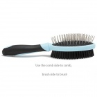 DELE 2-in-1 Double Side Brush Comb for Dog Cat - Blue + Black
