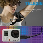 TELESIN GP-MCO-001 Professional Mini USB Microphone for Gopro Hero 4 / 3+ / 3 - Black