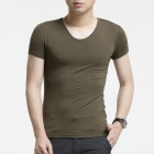 FENL A520 Men's Slim Fit Round Neck Short Sleeve Modal T-Shirt Tee - Army green  (Size M)