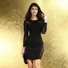 Modische Netz Exposed Bodycon Polyester-Kleid - schwarz