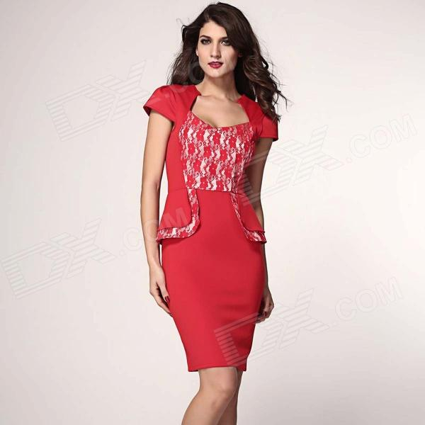 Fashionable Sexy V-Neck Sweetheart Neckline Peplum Dress - Red (Size L) fashionable sexy ladies v neck mini slim half sleeves lace dress black red size l