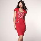 Fashionable Sexy V-Neck Sweetheart Neckline Peplum Dress - Red (Size L)