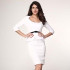 Fashionable Three Quarter Sleeve Belted Slim Peplum Polyester Dress - White (Size L)