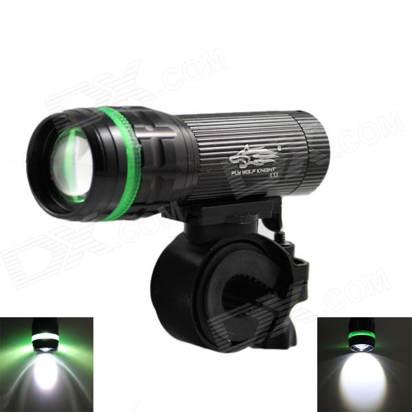 New L13 150lm 3-Mode White Zooming Bike Light + Tail Safety Light - Black (3 x AAA)