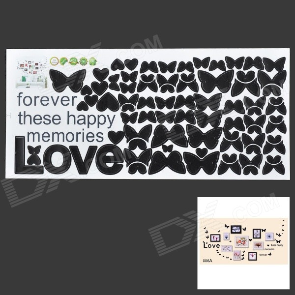 Blossom Rose Butterfly Love Living Room Home Decals Decoration Wall Stickers - Black quote wall sticker i love you for home decoration waterproof removable decals