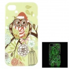 Cute Owl Pattern Glow-in-the-dark Protective TPU Back Case for IPHONE 4 / 4S - Green + Multi-colored