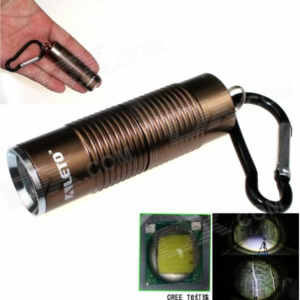 ALETO KL251C 1-LED 900lm 3-Mode White Light Flashlight w/ Keychain - Coffee (1 x 16340)