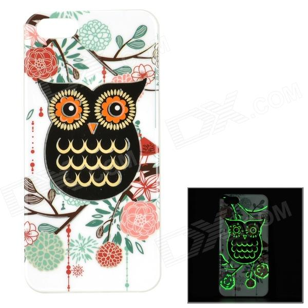 Protective Owl Pattern Glow-in-the-dark TPU Back Case for IPHONE 5 / 5S - White + Multi-colored holes pattern protective tpu back case for iphone 6 plus 5 5 yellow