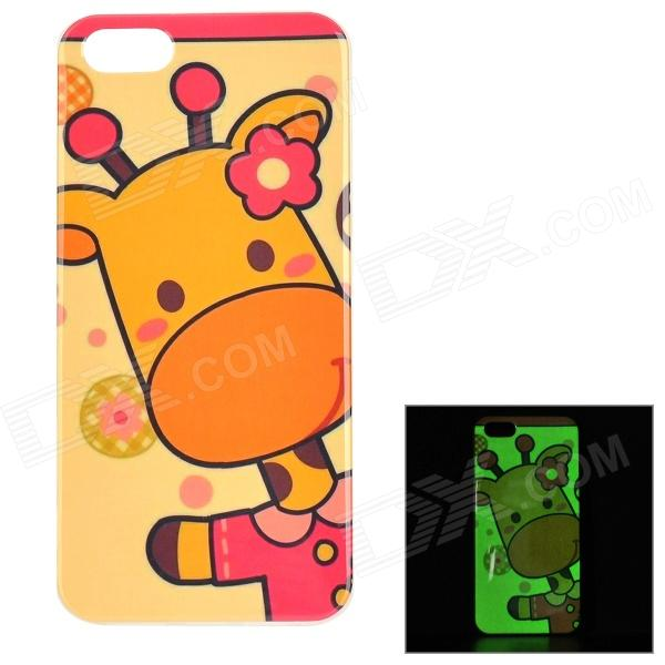 Protective Giraffe Pattern Glow-in-the-dark TPU Back Case for IPHONE 5 / 5S - Yellow + Multi-colored protective patterned glow in the dark tpu back case for iphone 4 4s white multi colored