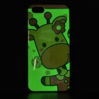 Protective Giraffe Pattern Glow-in-the-dark TPU Back Case for IPHONE 5 / 5S - Yellow + Multi-colored