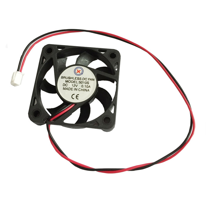 0.1A 2-Pin HDD 7-Blade Brushless DC Fan -Black + Red (12V / 50*12mm)