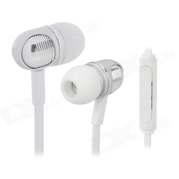Wallytech W801 Super Bass In-Ear Earphone w/ Mic / Remote for IPHONE / IPAD + More - White + Silver