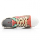 Women's Casual Canvas Front Shoelace Shoes - Red + Beige + Multi-Colored (EUR Size 39)