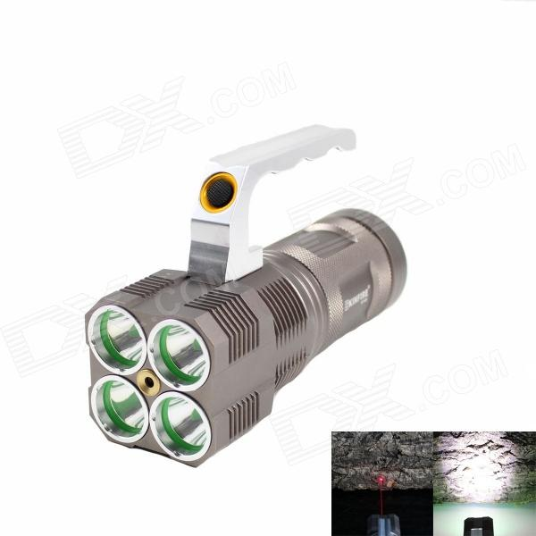 KINFIRE KF-40X 4-LED 1400lm 3-Mode White Flashlight w/ Red Laser - Brown (4 x 18650) kinfire k40x 4 led 2000lm 3 mode white flashlight gray 4 x 18650